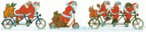 Radelnde Weihnachtsmänner