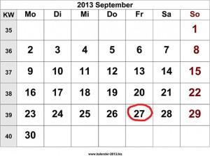 Kalenderblatt: Nächster Stammtisch am 27.9.2013