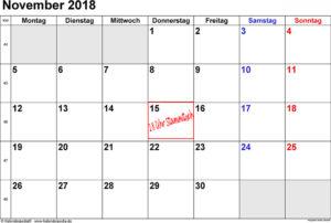 Kalenderblatt für den Monat November 2018